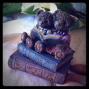 Vintage Bears Reading on Treasure Trinket Box